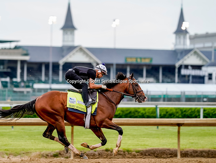 April 28, 2021: Highly Motivated, trained by trainer Chad Brown, exercises in preparation for the Kentucky Derby at Churchill Downs on April 29, 2021 in Louisville, Kentucky. Scott Serio/Eclipse Sportswire/CSM