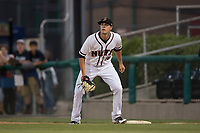 Modesto Nuts first baseman Evan White (18) prepares to receive a ball during a California League game against the Lake Elsinore Storm at John Thurman Field on May 12, 2018 in Modesto, California. Lake Elsinore defeated Modesto 4-1. (Zachary Lucy/Four Seam Images)