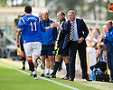 RANGERS MANAGER MANAGER ALLY MCCOIST CONGRATULATES KYLE LAFFERTY AFTER HE SCORES RANGERS' SECOND
