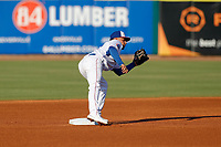 Tennessee Smokies second baseman Carlos Sepulveda (27) on defense against the Chattanooga Lookouts at Smokies Stadium on June 18, 2021, in Kodak, Tennessee. (Danny Parker/Four Seam Images)