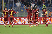 Bryan Cristante of AS Roma celebrates  after scoring the goal of 1-0 during the Serie A football match between AS Roma and US Sassuolo at Olimpico stadium in Rome (Italy), September 12th, 2021. Photo Antonietta Baldassarre / Insidefoto