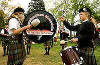The Grandfather Mountain Highlanders pipe and drum band warms up at the Loch Norman games in Huntersville, NC.