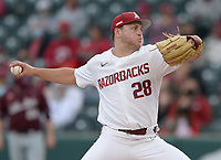 Arkansas starter Kole Ramage delivers to the plate Tuesday, April 6, 2021, during the second inning of play against UALR at Baum-Walker Stadium in Fayetteville. Visit nwaonline.com/210407Daily/ for today's photo gallery. <br /> (NWA Democrat-Gazette/Andy Shupe)