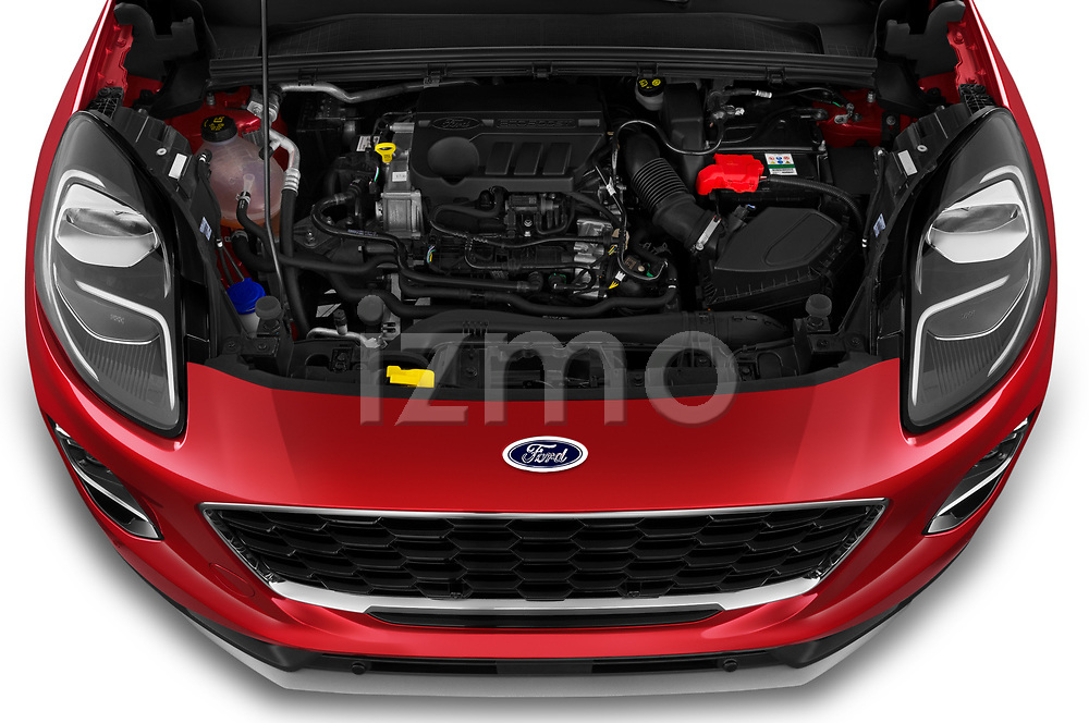 Car Stock 2020 Ford Puma Titanium-X 5 Door SUV Engine  high angle detail view