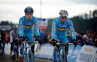 cx-legend Sven Nys (BEL) warming up next to countryman/prodigy/favorite Wout Van Aert (BEL)<br /> <br /> Elite Men's race<br /> <br /> 2015 UCI World Championships Cyclocross <br /> Tabor, Czech Republic