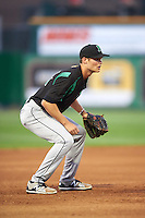 Dayton Dragons third baseman Brantley Bell (24) during a game against the Peoria Chiefs on May 6, 2016 at Dozer Park in Peoria, Illinois.  Peoria defeated Dayton 5-0.  (Mike Janes/Four Seam Images)