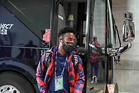 KANSAS CITY, KS - JULY 15: Eryk Williamson #19 of the United States arriving at the stadium before a game between Martinique and USMNT at Children's Mercy Park on July 15, 2021 in Kansas City, Kansas.