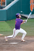 James Parker (15) of the Clemson Tigers bats in a fall Orange-Purple intrasquad scrimmage on Friday, November 13, 2020, at Doug Kingsmore Stadium in Clemson, South Carolina. (Tom Priddy/Four Seam Images)