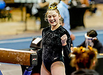 February 19, 2021: Towson University's Alison Zuhlke competes on the beam during the 2nd Annual George McGinty Alumni Meet at the SECU Arena at Towson University in Towson, Maryland. Scott Serio/Eclipse Sportswire/CSM