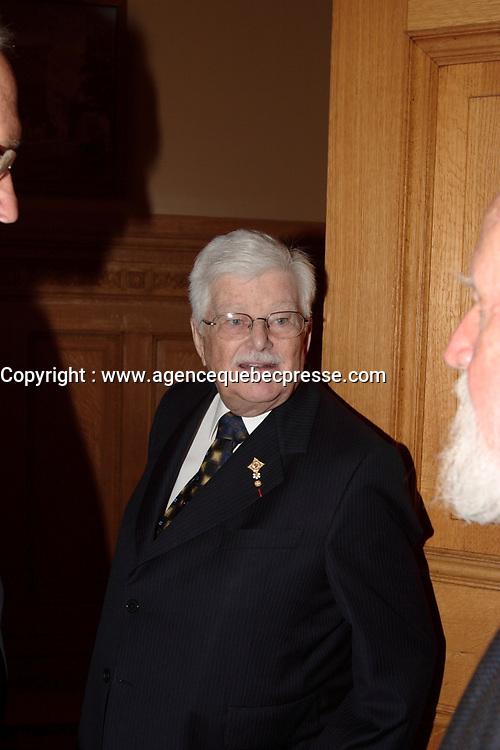 Paul Gerin-Lajoie <br />  ,<br /> le 9 octobre 2007 au cocktail du<br /> Gala des Grands Montrealais a l'Hotel de Ville de Montreal<br /> <br /> photo : Agence Quebec Presse<br />  - Pierre Roussel
