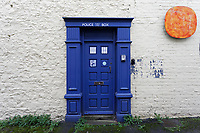 Pictured: A police public call box entrance to a building in the city centre of Bridgend, Wales, UK. Wednesday 19 February 2020<br /> Re: The effect of the Ford factory closure will have to Bridgend in south Wales, UK.