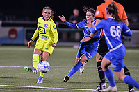 Bodil Van Den Heuvel (22) of AA Gent and Lorene Martin (6) of KRC Genk pictured during a female soccer game between  Racing Genk Ladies and AA Gent Ladies ,  on the 6 th  matchday of the 2021-2022 season of the Belgian Scooore Womens Super League , friday 8 october 2021  in Genk , Belgium . PHOTO SPORTPIX | JILL DELSAUX