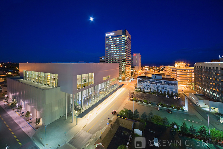 The Dena'ina convention and Visitors Center at  twilight, late summer, downtown Anchorage, Southcentral Alaska, USA.