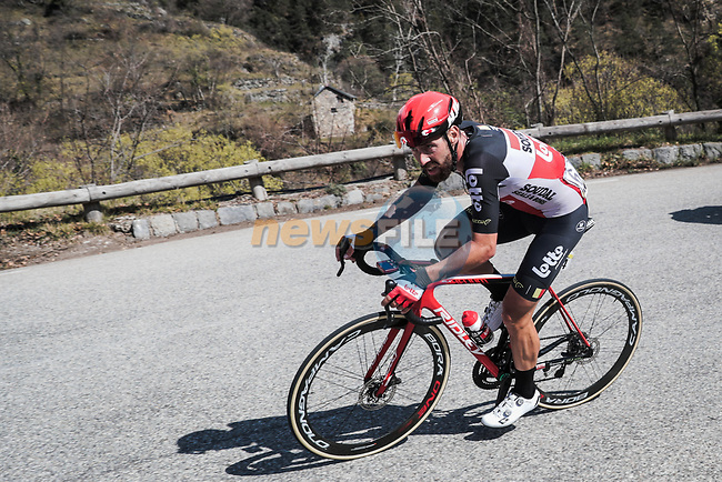 The breakaway including Thomas De Gendt (BEL) Lotto-Soudal during Stage 7 of the 78th edition of Paris-Nice 2020, running 166.5km from Nice to Valdeblore La Colmiane, France. 14th March 2020.<br /> Picture: ASO/Fabien Boukla | Cyclefile<br /> All photos usage must carry mandatory copyright credit (© Cyclefile | ASO/Fabien Boukla)