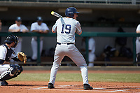 Joe Gellenbeck (19) of the Xavier Musketeers at bat against the Penn State Nittany Lions at Coleman Field at the USA Baseball National Training Center on February 25, 2017 in Cary, North Carolina. The Musketeers defeated the Nittany Lions 10-4 in game one of a double header. (Brian Westerholt/Four Seam Images)