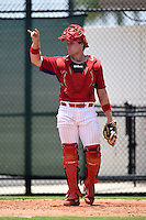 GCL Phillies catcher Joel Fisher (15) during a game against the GCL Pirates on June 26, 2014 at the Carpenter Complex in Clearwater, Florida.  GCL Phillies defeated the GCL Pirates 6-2.  (Mike Janes/Four Seam Images)