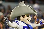 Dallas Cowboys mascot, Rowdy, in action during the pre-season game between the Tampa Bay Buccaneers and the Dallas Cowboys at the AT & T Stadium in Arlington, Texas.