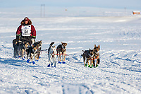 on the trail heading toward the finish at Nome on Wednesday March 14th during the 2018 Iditarod Sled Dog Race.  <br /> <br /> Photo by Jeff Schultz/SchultzPhoto.com  (C) 2018  ALL RIGHTS RESERVED