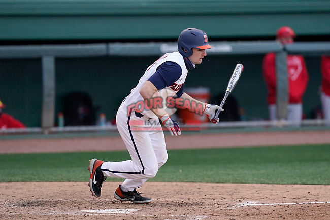 Left fielder Nathan Aide (29) of the Illinois Fighting Illini bats in a game against the Ohio State Buckeyes on Friday, March 5, 2021, at Fluor Field at the West End in Greenville, South Carolina. (Tom Priddy/Four Seam Images)