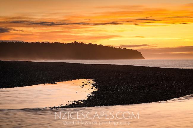 Five Mile Beach near Okarito at sunset - Westland National Park, West Coast, New Zealand