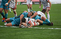 Sunday 25th October 2020   Ulster vs Dragons<br /> <br /> 25 October 2020; Alan O'Connor drives over to score the six try for Ulster against the Dragons during the Guinness PRO14 match between Ulster and Dragons at Kingspan Stadium in Belfast. Photo by John Dickson / Dicksondigital