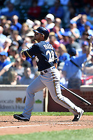 Milwaukee Brewers outfielder Gerardo Parra (28) at bat during a game against the Chicago Cubs on August 14, 2014 at Wrigley Field in Chicago, Illinois.  Milwaukee defeated Chicago 6-2.  (Mike Janes/Four Seam Images)