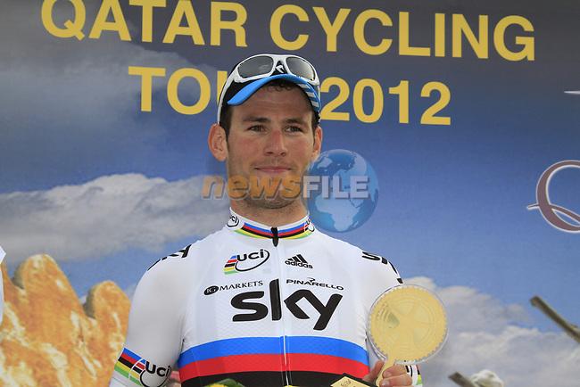 World Champion Mark Cavendish (GBR) Sky Procycling wins Stage 3 of the 2012 Tour of Qatar running 146.5km from Dukhan Souq, Dukhan to Al Gharafa, Qatar. 7th February 2012.<br /> (Photo Eoin Clarke/Newsfile)