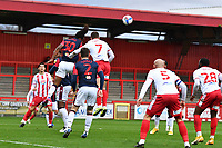 Peter Kioso of Bolton Wanderers F.C. heads clear during Stevenage vs Bolton Wanderers, Sky Bet EFL League 2 Football at the Lamex Stadium on 21st November 2020