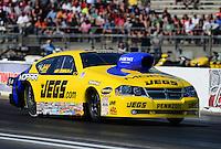 May 18, 2012; Topeka, KS, USA: NHRA pro stock driver Jeg Coughlin during qualifying for the Summer Nationals at Heartland Park Topeka. Mandatory Credit: Mark J. Rebilas-