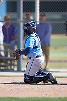 Tampa Bay Rays catcher Jean Ramirez (85) during a Minor League Spring Training game against the Minnesota Twins on March 15, 2018 at CenturyLink Sports Complex in Fort Myers, Florida.  (Mike Janes/Four Seam Images)