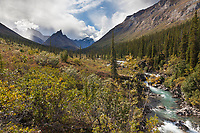 Arrigetch creek and Elephants tooth mountain in the distance, Arrigetch Peaks, Gates of the Arctic National park, Alaska.