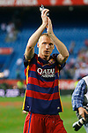 FC Barcelona's Jeremy Mathieu celebrates the victory in the Spanish Kings Cup Final match. May 22,2016. (ALTERPHOTOS/Acero)