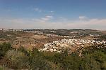 Israel, Jerusalem Mountains. Arab village Ein Rafa as seen from Tzuba