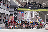 peloton passes the finish line in Schoten with 1 local lap to go<br /> <br /> 105th Scheldeprijs 2017 (1.HC)<br /> 1 Day Race: Mol › Schoten (BEL/202km)