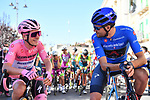 Maglia Rosa Joao Almeida (POR) Deceuninck-Quick Step and Maglia Azzurra Filippo Ganna (ITA) Ineos Grenadiers lined up for the start of Stage 8 of the 103rd edition of the Giro d'Italia 2020 running 200km from Giovinazzo to Vieste, Sicily, Italy. 10th October 2020.  <br /> Picture: LaPresse/Massimo Paolone | Cyclefile<br /> <br /> All photos usage must carry mandatory copyright credit (© Cyclefile | LaPresse/Massimo Paolone)