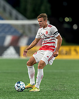 FOXBOROUGH, MA - AUGUST 21: Victor Falck #23 of Richmond Kickers passes the ball during a game between Richmond Kickers and New England Revolution II at Gillette Stadium on August 21, 2020 in Foxborough, Massachusetts.