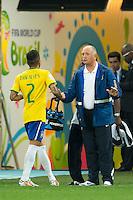 Brazil head coach Luiz Felipe Scolari talk to Dani Alves