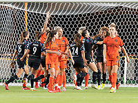 HOUSTON, TX - SEPTEMBER 10: Casey Krueger #6 of the Chicago Red Stars celebrates her goal in the second half with her teammates during a game between Chicago Red Stars and Houston Dash at BBVA Stadium on September 10, 2021 in Houston, Texas.