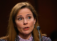 United States Supreme Court nominee Judge Amy Coney Barrett testifies on the third day of her confirmation hearing before the Senate Judiciary Committee on Capitol Hill on October 14, 2020 in Washington, DC.<br /> CAP/MPI/RS<br /> ©RS/MPI/Capital Pictures