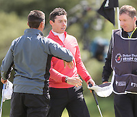 Thursday 28 May 2015; A bemused Rory McIlroy on the 18th green<br /> <br /> Dubai Duty Free Irish Open Golf Championship 2015, Round 1 County Down Golf Club, Co. Down. Picture credit: John Dickson / SPORTSFILE