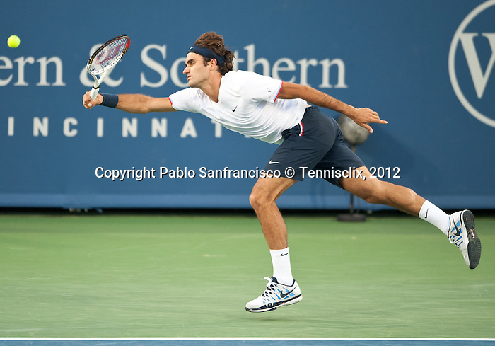 Roger Federer of Switzerland at the Western & Southern Open in Mason, OH on August 17, 2012.
