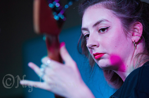 08 APR 2016 - STOWMARKET, GBR - Krista Lynch performing with Superglu during a recording for BBC Introducing at the John Peel Centre for Creative Arts in Stowmarket, Suffolk, Great Britain (PHOTO COPYRIGHT © 2016 NIGEL FARROW, ALL RIGHTS RESERVED)