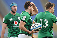 Hugo Keenan  of Ireland celebrates after scoring a try  Roma, Olimpico stadium, 27/02/2021.<br /> Italy vs Ireland <br /> Six Nations 2021 rugby trophy <br /> Photo Antonietta Baldassarre/ Insidefoto