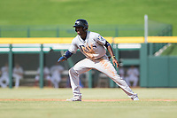 Peoria Javelinas shortstop Lucius Fox (5), of the Tampa Bay Rays organization, takes a lead off second base during an Arizona Fall League game against the Mesa Solar Sox at Sloan Park on October 11, 2018 in Mesa, Arizona. Mesa defeated Peoria 10-9. (Zachary Lucy/Four Seam Images)