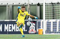 FOXBOROUGH, MA - AUGUST 7: Joe Rice #51 of New England Revolution II passes the ball during a game between Orlando City B and New England Revolution II at Gillette Stadium on August 7, 2020 in Foxborough, Massachusetts.