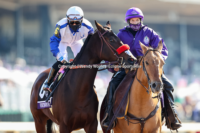 November 7, 2020 : Venetian Harbor, ridden by Richard Baltas, get ready for the Filly & Mare Sprint on Breeders' Cup Championship Saturday at Keeneland Race Course in Lexington, Kentucky on November 7, 2020. Wendy Wooley/Breeders' Cup/Eclipse Sportswire/CSM