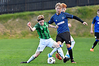 Sam Mason-Smith of the Miramar Rangers competes for the ball with Oliver Arrowsmith of the Wainuiomata AFC during the Central League Football - Miramar Rangers AFC v Wainuiomata AFC at David Farrington Park, Wellington, New Zealand on Saturday 17 April 2021.<br /> Copyright photo: Masanori Udagawa /  www.photosport.nz