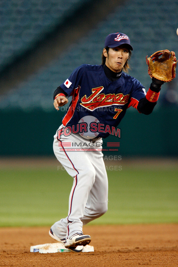 Tsuyoshi Nishioka of Japan during World Baseball Championship at Angel Stadium in Anaheim,California on March 14, 2006. Photo by Larry Goren/Four Seam Images