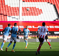 31st October 2020; Bramall Lane, Sheffield, Yorkshire, England; English Premier League Football, Sheffield United versus Manchester City; Kyle Walker of Manchester City heads the long ball forward