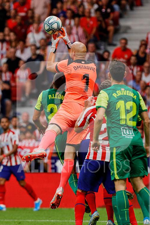Marko Dmitrovic of SD Eibar in action during La Liga match between Atletico de Madrid and SD Eibar at Wanda Metropolitano Stadium in Madrid, Spain.September 01, 2019. (ALTERPHOTOS/A. Perez Meca)